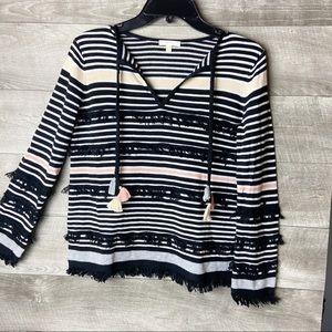 Lisa Todd beach gray tassel pullover sweater